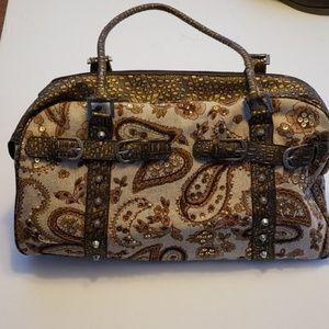 Handbags - Tapestry Travel Bag, Tan/Brown/Beaded